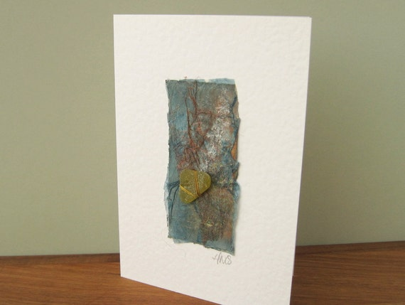 Seashore Art Handmade Card with Olive Green Sea Glass SG1204