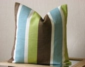 Throw pillow cover - 16x16 pillow cover - Eastern stripe pistachio - green blue brown white