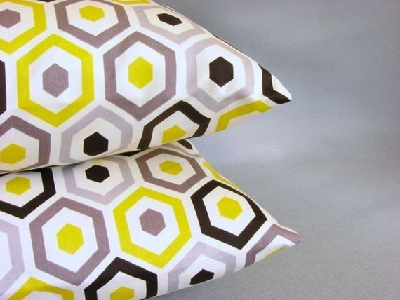 Yellow and Grey Pillow Cover 16 Inch Geometric Cushion Cover Pillow Sham - Beehive Sunshine