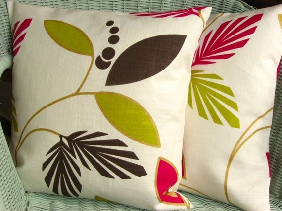 Graphic leaf berry 16 inch handmade cushion pillow cover