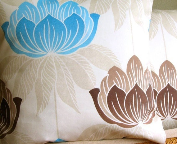 Lotus teal 18 inch handmade cushion pillow cover