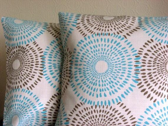 Sunburst aqua 18 inch handmade cushion pillow cover