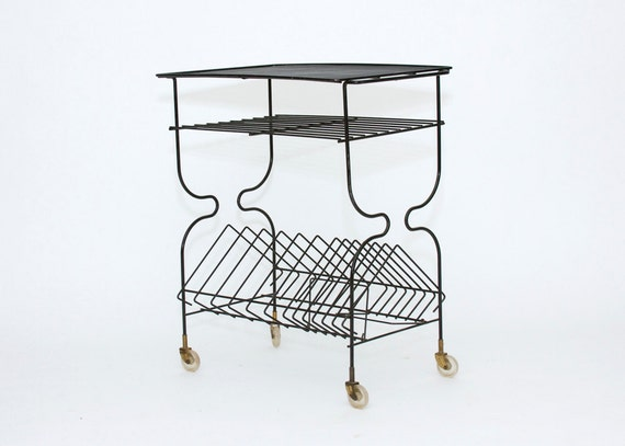 Record Player Table - Mid Century, Wire, Cart, Vintage, Black