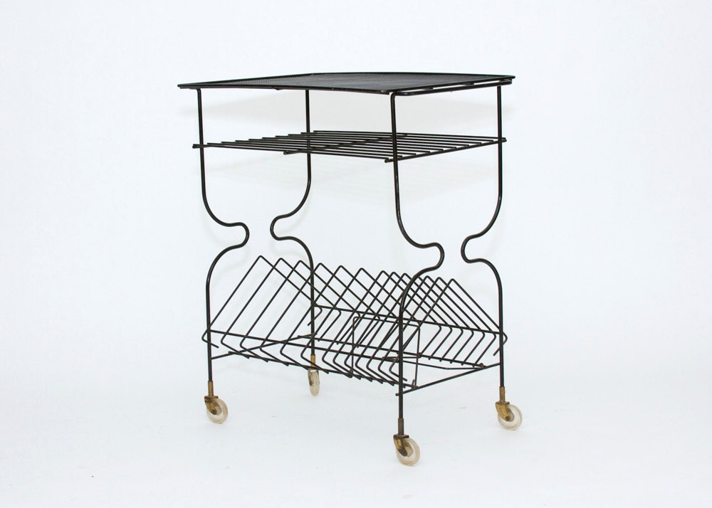 Record Player Table Mid Century Wire Cart Vintage Black
