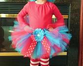 Thing 1 inspired tutu-Blue Wig-Candy Cane striped leg warmers-Birthday Tutu