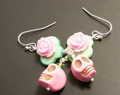 Green Shell with Pink Roses and Pink Zombie Sugar Skulls Earrings