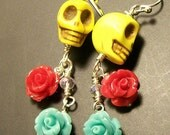 Skull Jewelry - Yellow Sugar Skull earrings with red and blue rose dangles