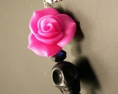 ON SALE Sugar Skull Pendant Bright Hot Pink Rose and Sugar Skull Pendant Day of the Dead Pendant