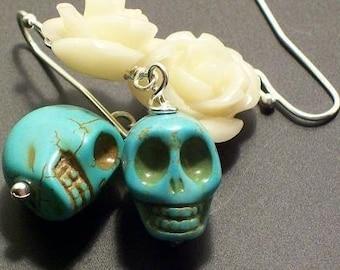 Creamy Rose and Sugar Skulls Earrings