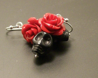 Red Rose and Black Sugar Skulls earrings