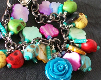 Blue Rose Sugar Skull Charm Bracelet