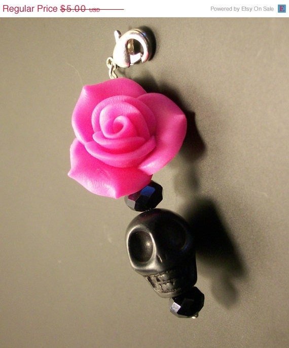 ON SALE Sugar Skull Pendant Bright Hot Pink Rose and Sugar Skull Pendant Day of the Dead Pendant