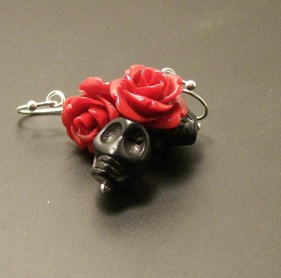 Red Rose and Black Sugar Skulls earrings