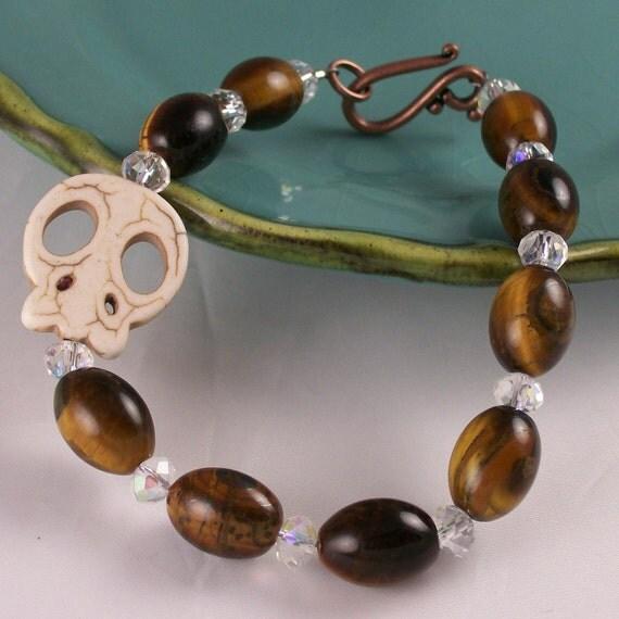 Men's Skull bracelet Rockabilly Skull Bracelet Sugar Skull Bracelet Zombie