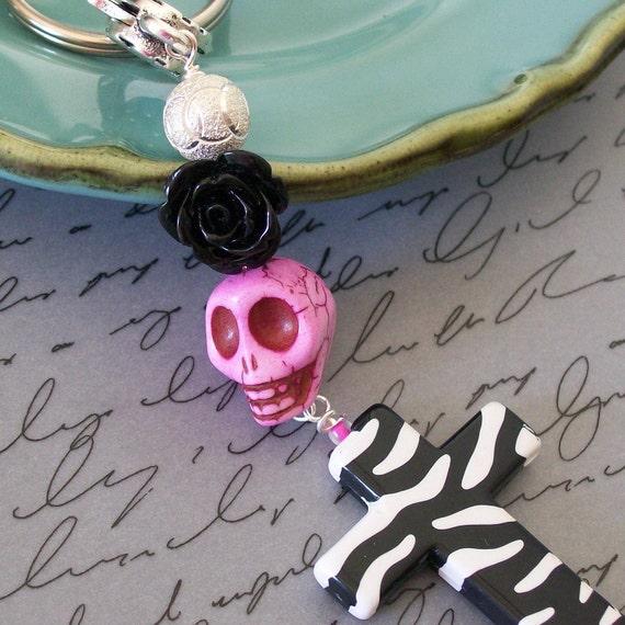 Sugar Skull Day of the Dead Black Rose and Sugar Skull Pendant