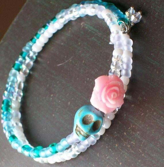 Pink Rose and Sugar Skull Bracelet
