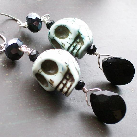 Blue Sugar Skull Earrings