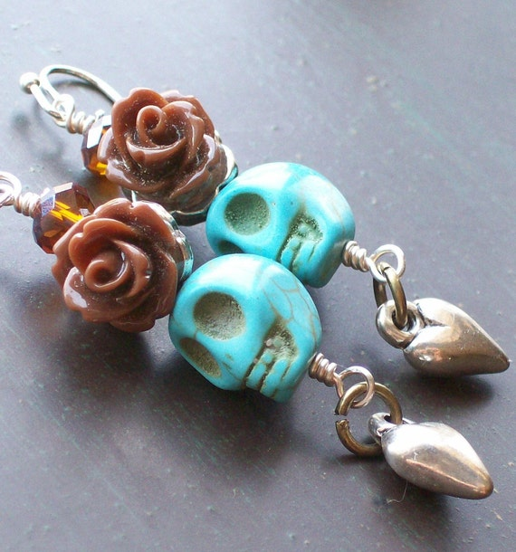 Chocolate Rose and Sugar Skull Earrings