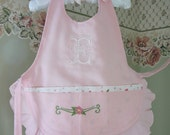 Girls Pink Apron - Personalized with ANY Large Initial - All Sizes Available
