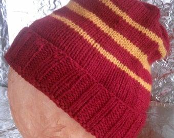 Gryffindor Inspired Hand Knitted Cap - Custom Order