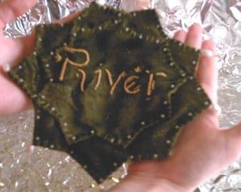 Dr Who Inspired  Hand Sewn River Song Prayer Leaf - Custom Order
