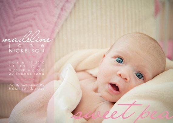 custom baby announcement . sweet pea