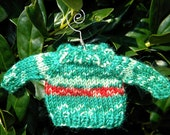 Christmas Ornament - Hand knit Elf Sweater