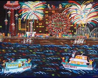 Coney Island Fireworks-  Brighton Beach, Brooklyn Boardwalk