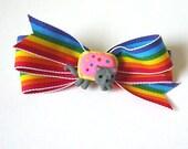 Nyan Cat Hair Bow with Rainbow Sprinkles