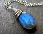 Necklace. AA Labradorite Briolette on Sterling Silver. Midnight Sky.