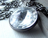 Necklace. Vintage Swarovski Crystal Pendant on Gunmetal. Ice.