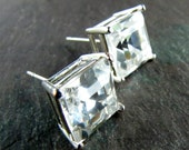 Vintage Swarovski Crystal Earrings Posts Square Stones Princess Cut Sterling Silver Studs challenevi