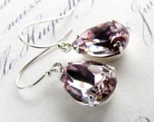30% WINTER SALE Swarovski Crystal Earrings, Light Amethyst Faceted Pear Stones Prong Setting Sterling Silver Earwires challenevi