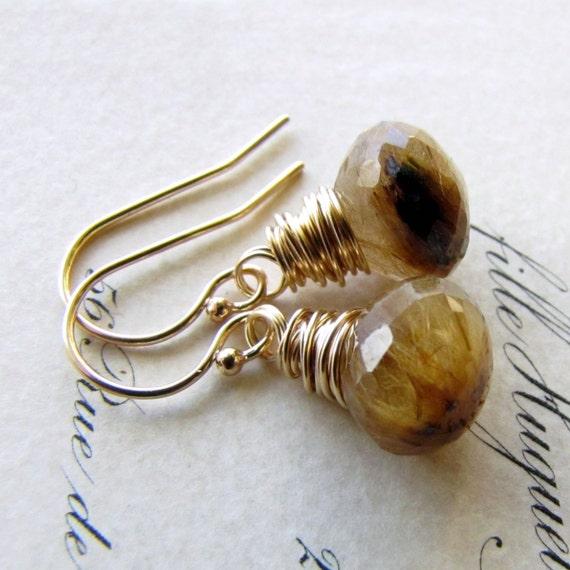 Golden Rutilated Quartz Earrings Onion Briolette Gemstone 14K gold fill challenevi
