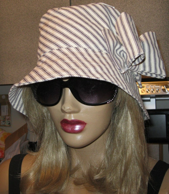 SALE-Womens Sun, Garden, Summer, Beach Cloche Hat in blue and cream ticking fabric