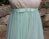 On hold for DeliciouslyGirlie - VTG 60s 70s Unique Mint Green Sheer EVETTE Chiffon and Lace Babydoll w/ Robe
