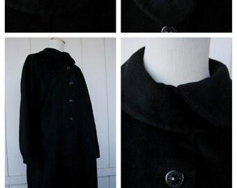 VTG 40s 50s Soft Warm Black Cashmere Wool Dress Coat w/ Amazing Collar & Buttons
