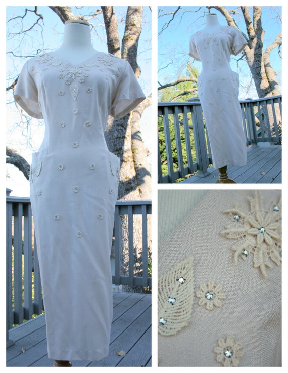 RESERVED for lucitecapsule - VTG 40s Khaki Tan Applique Rhinestone Classy Cocktail Dress w/ Large Pockets