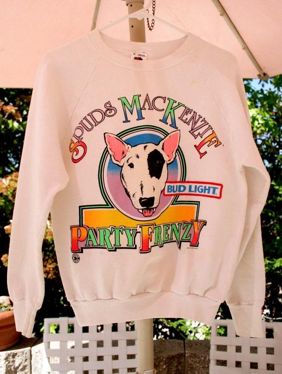 """VTG 80's Spuds MacKenzie """"Party Frenzy"""" Bud Light Sweater - RARE White Pull-over"""