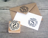 Return Address Stamp, Personalized, Hand Carved Rubber Stamp, Mounted on Wood Block