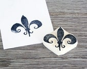 Fleur de Lis Hand-carved Rubber Stamp . Unmounted . Ready to Ship