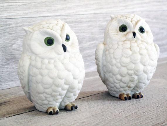 2 Vintage White Owl Figurines Porcelain Home Decor