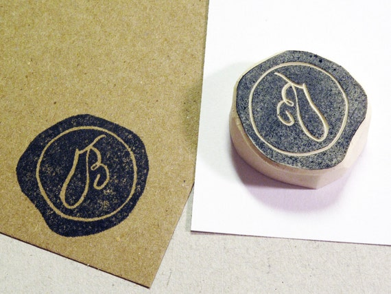 Custom Seal Rubber Stamp - Customized with Your Initial . Hand-carved and Unmounted