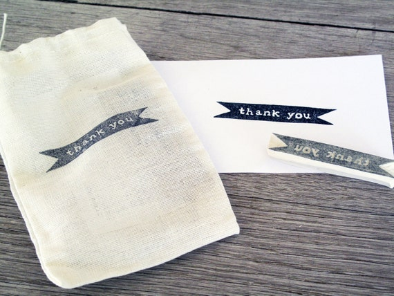 Thank You Rubber Stamp, Hand Carved