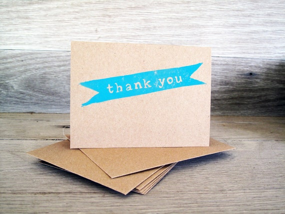Thank You Cards, Set of 6, Kraft Paper