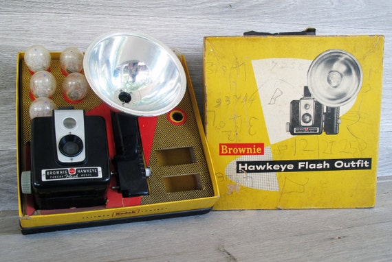 Vintage Brownie Hawkeye Flash Model Camera, Kodak, 1950s, Original Box