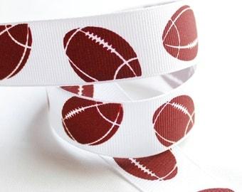 Footballs Ribbon 7/8 inch - Choose 1-10 yd Football Printed Grosgrain Ribbon