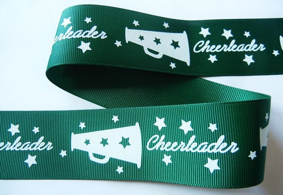 5 yards 1-1/2 inch Cheerleader Green with White Grosgrain Ribbon - High Quality