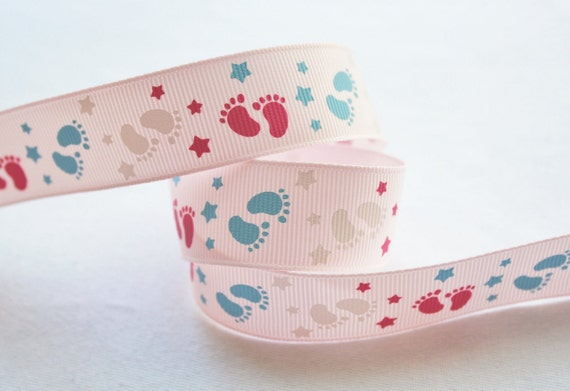 Baby Feet Pink Blue 15 yards 7/8 inch Printed Grosgrain Ribbon Baby Shower Diaper Cake
