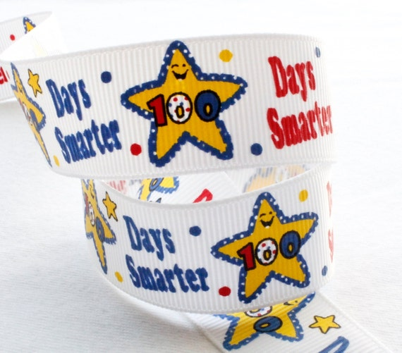 100 Days Smarter 5 Yd 7/8 inch Star 100th Day of School Grosgrain Ribbon Hairbow Supplies, Etc.